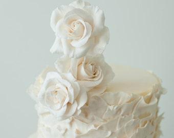 Wedding Cake Topper -  White Roses Clay arrangement - flower wedding cake topper -made to order