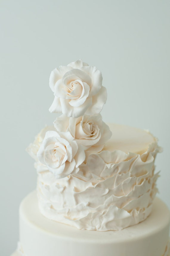 Wedding Cake Topper -  White Roses Clay arrangement - flower wedding cake topper -made to order