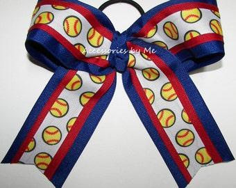 Softball Bow, Patriotic Softball Bows, Royal Blue Red White Soft Ball Ribbon Ponytail Holder Clip, Team Spirit Gift, Bulk Lot Discount Bows