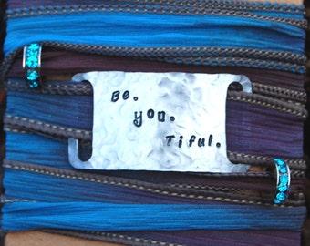 Custom Be. You. Tiful Silk Wrap, Custom Beautiful Silk Wrap, Valentine's Day Gift, Christmas Bracelet Custom Gypsy Bracelet, Gifts for Her
