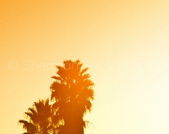 Fall Photography - Tropical Photography - Sunset Photo - Palm Trees Print - Mountains Photo - Yellow Decor - Warm Autumn Colors - Nature