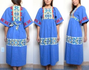 70's Dutch Handmade Wide Sleeve Boho Maxi Dress (Size 4/5)