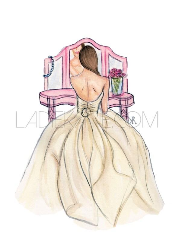 wedding print, bride art, bride painting, tie the knot, bride print, wedding art, wedding illustration, bride gift