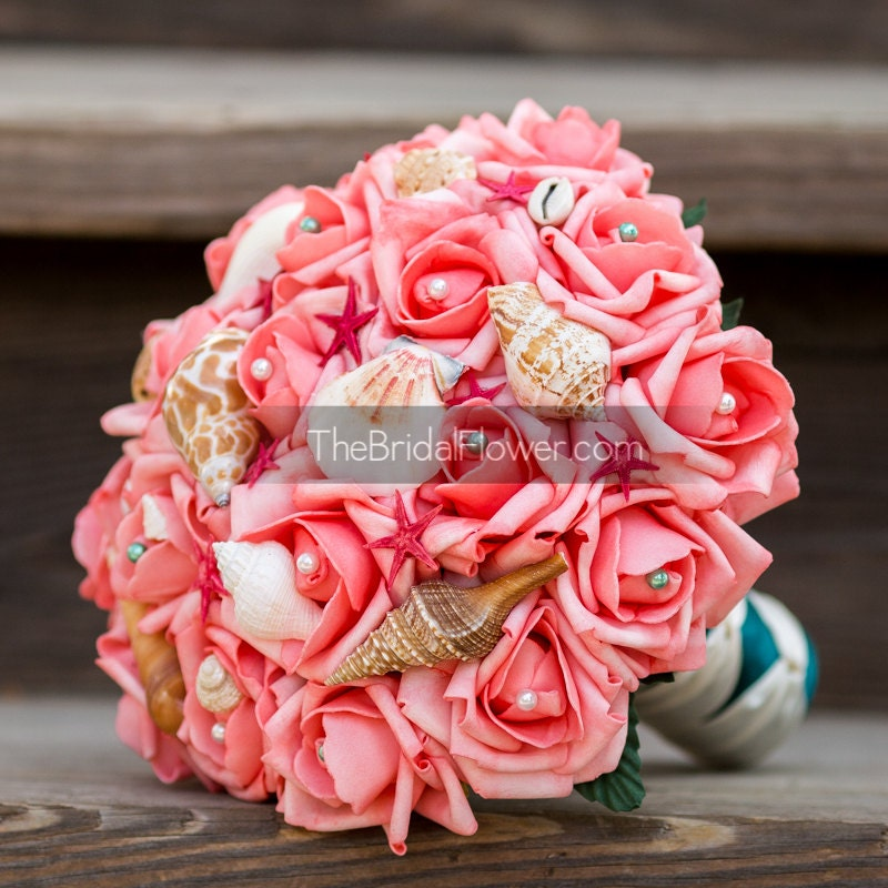 Silk Wedding Flowers In Maryland : Coral seashell bouquet with shells red starfish by