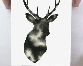 Modern Deer Painting Hand Painted Original Stag Antler Watercolor Deer Silhouette Art Minimalist Scandinavian Marbled Black and White Elk