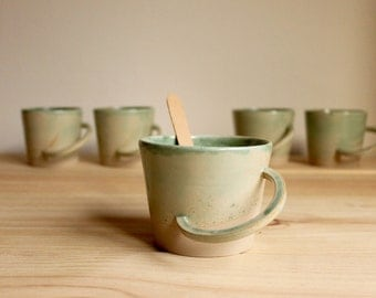 Mint mug Ceramic cup Stoneware mug Wheel thrown mug Original mug