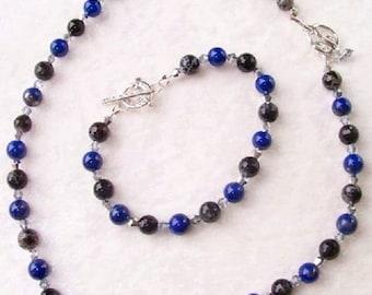 Beaded Necklace and Bracelet Set, Jewelry Sets, Beaded Necklace, Beaded Bracelet, Lapis Lazuli Necklace, Lapis Necklace, Lapis Bracelet