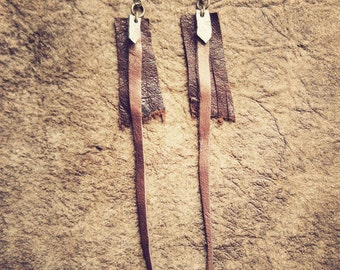 LEATHER EARRINGS • brown copper • tribal ethnic gypsy hippie boho indie pixie festival burning man