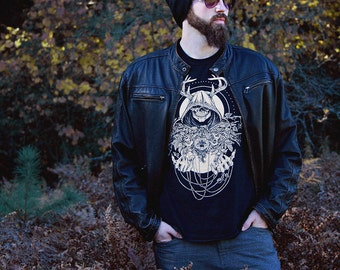 Skull with Antlers and Filigree Tee