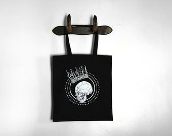 Skull with Twig Crown Tote Bag
