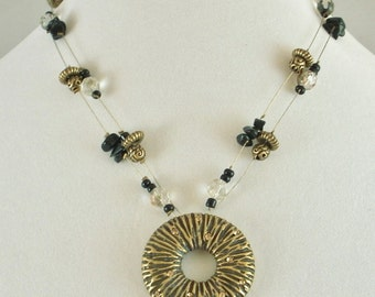 Vintage Brass and Gold Rhinestone Round Pendant Beaded Necklace