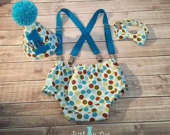 Polka Dot Baby Boy Cake Smash First Birthday Outfit