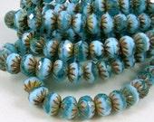 6x9mm Cruller, Czech Glass Beads - Aqua and Baby Blue Glass Beads (0440) - Qty 12