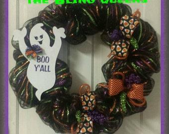 """Halloween """"Boo Y'all"""" Wreath"""