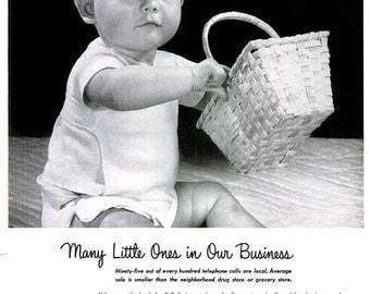 1953 Bell Telephone System Advertisement Baby Boy Poster Print Newborn Babyhood Black & White Children's Room Wall Art Daycare Nursery Decor