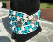 WISH charm,  Wish bracelet,  beaded bracelet,  wrap bracelet,  charm bracelet,  white leather cord,  6mm beaded bracelet,  leather bracelet
