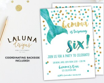 Mermaid Birthday Invitation, Mermaid Invitation, Mermaid Birthday Invite, Mermaid Party, Girl Birthday Invite, Gold Foil Invitation