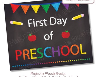 First Day of School Chalkboard, Printable Back to School Chalkboard, First Day of Preschool Chalkboard, 8x10 Printable Instant Download File