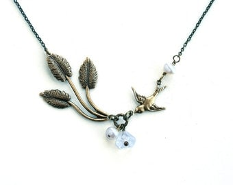 Antiqued Gold Brass Leaf Bird Necklace Wedding Jewelry Bridal Jewelry Bridesmaid Gift White Pearl Bead Gold Chain Lillian Jewelry
