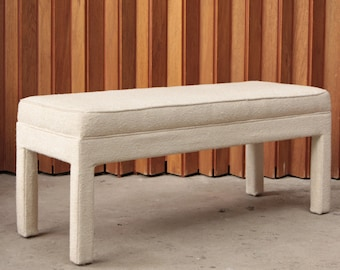 White Boucle Parsons Bench