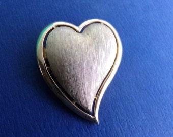 Vintage Crown Trifari Gold Heart Brooch Pin, Asymmetrical Heart Brooch Pin, Trifari Brushed Gold Tone Heart Brooch, Puffy Heart Brooch Pin