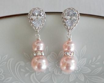 Pink Bridesmaid Earrings Bridesmaid Gift Pearl Bridal Earrings Pearl Pink Bridesmaid Bridesmaid Wedding Jewelry Pearl Bridesmaid Earrings