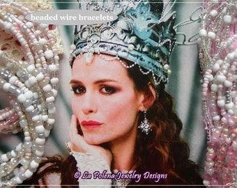 CLEO de MERODE Bridal bracelet, Soft Spring colours, super long beaded wire bracelets, Bride Mermaid, Ecru Pink, vintage glass beads