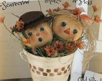 Primitive Pattern Scarecrow Kidz Ornies ePattern