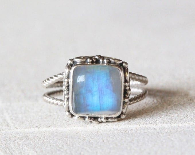 Square Rainbow Moonstone Ring, Boho, Moonstone Ring, Silver Ring, Sterling Silver Ring, Statement Ring, Gypsy Ring, Gypsy Jewelry, Boho Ring