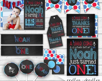 First Birthday Chalkboard Party, 1st Birthday Party Package, Chalkboard, Boys, First Birthday, Blue, Turquoise, Red, Polka Dots, Printable