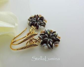Southwest Sunset Handcrafted Beadwoven Earrings Golden Artisan Ear Wires