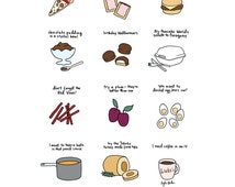 Foods of Gilmore Girls Print - Hand-Illustrated