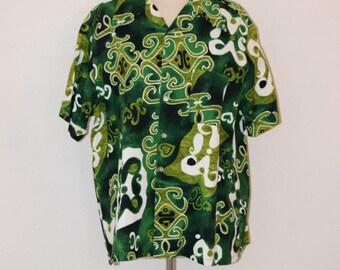 Green Bark Cloth 'Don Loper by Duke of Hollywood' Hawaiian Shirt - Men's Large / 17 - 17 1/2