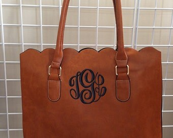 Monogrammed SCALLOPED Edge Faux Leather Tote Bag or Purse | Christmas Gift 2016 BEST SELLER | by Mad About Monograms