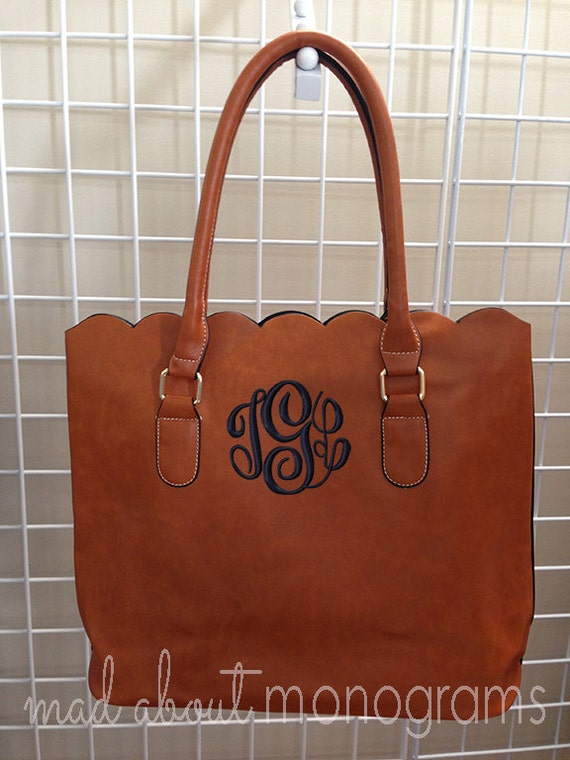 monogrammed scalloped edge faux leather tote by madaboutmonograms