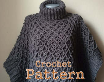 PDF Crochet Pattern Harlequin Poncho Cape Instant Download