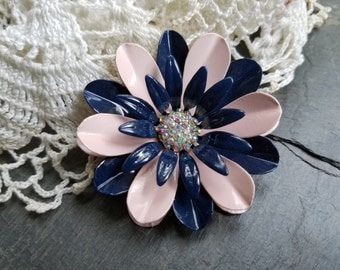 Enamel Flower Brooch Pink and Navy Metal Flower Pin Pink Enamel Broach Wedding AB Rhinestone Brooch Bouquet  Retro Flower Pin