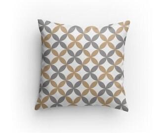 Grey White and Tan designer pillow