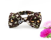 Bow Tie for Men by BartekDesign: pre tied flowers friuts cherry brown informal wedding classic retro vintage