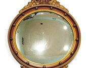 Antique Convex Federal Eagle Mirror Fisheye Large Presidental Americana Meets Military Rustic Wall Hanging Gold Gilt Large Wall Mirror