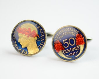 Cufflinks France enamel 50 Centimes Coin