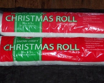 Snow cover rolls,Sparkle-Tex,lightly glittered w silver or Snow-Drift plain white,crafting,snow blanket,36 in X 5 ft,snow scenes,winter