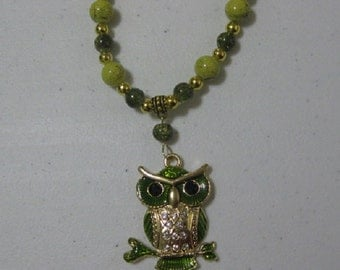 Green Owl Pendant Beaded Necklace