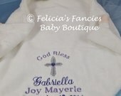 Personalized Baby Christening Gift,  Lamb Baptism Gift, Wee Snuggle Blanket, Special Baby Gift, Baby Gift by Felicia's Fancies
