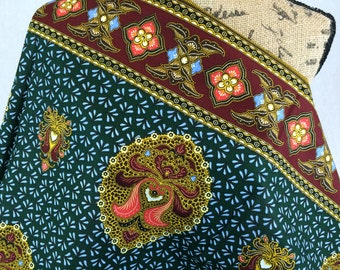 African Fabric--Java Print Fabric--Dashiki Print--Dark Green with Blue Petals & Maroon and Coral Medallions--African Fabric by the HALF YARD