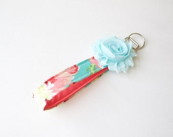 Wristlet Keychain-aqua and coral floral, key fob, aqua flower accent, flower keychain, preppy keychain
