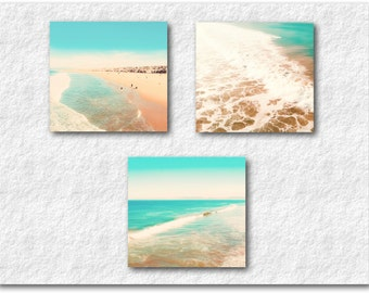 Beach Photography Set, Ocean Photography, California Hermosa Beach Los Angeles Wave Photography Serene Waves Turquoise Teal Beach Wall Art