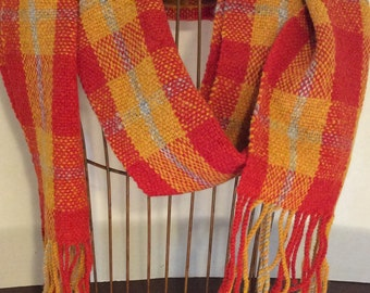 Hand-woven red gold and silver wool plaid scarf with twisted fringe - KC Chiefs - Chiefs Kingdom - winter scarf - wool scarf - GO CHIEFS