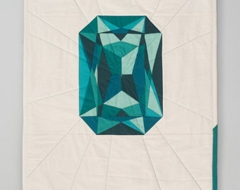 Geometric Art Wall Hanging - Emerald Quilted Gem - May Birthstone