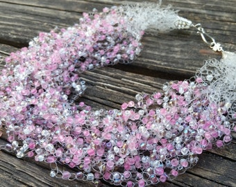 20 Strand Necklace Crochet with Clear Monofilament, Pink, Purple and Clear Beads